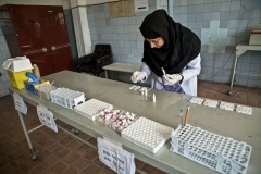 Woman working in a blood bank in Kabul
