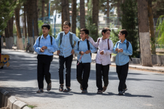 Student walking home from school in Herat