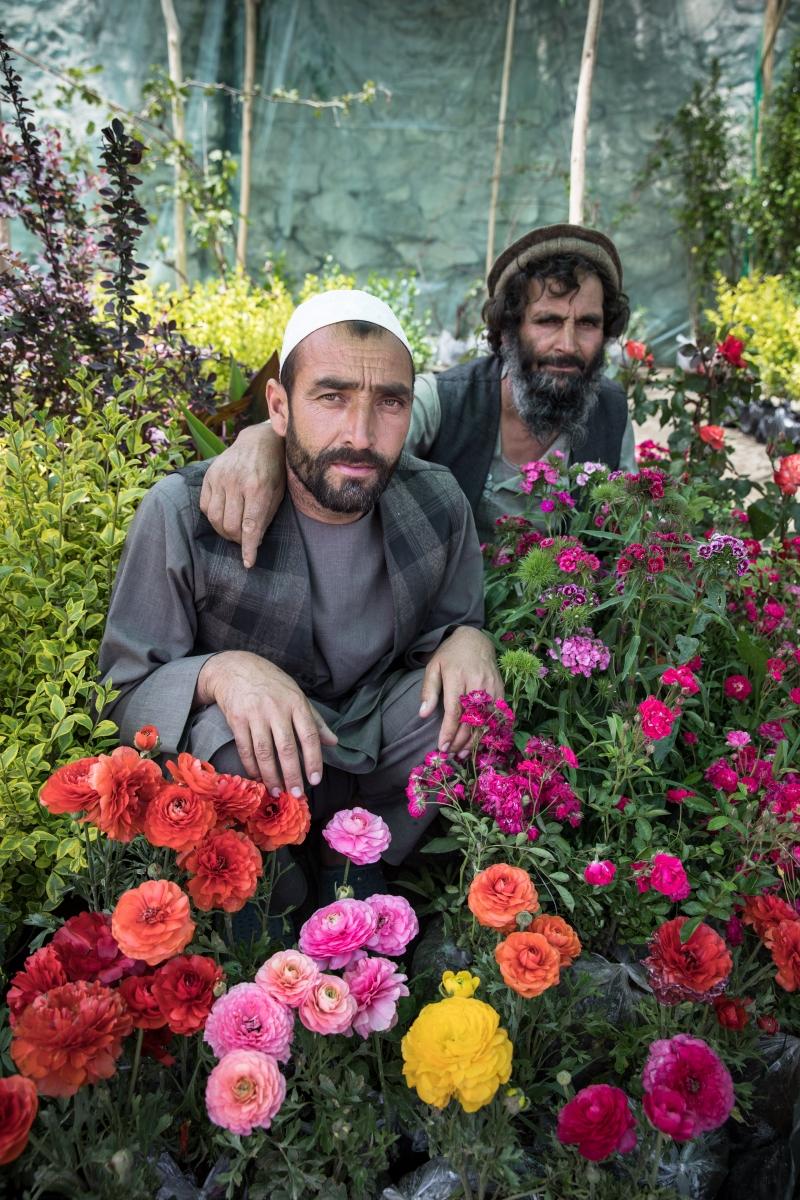 Flowers shopkeepers in Kabul, Afghanistan.