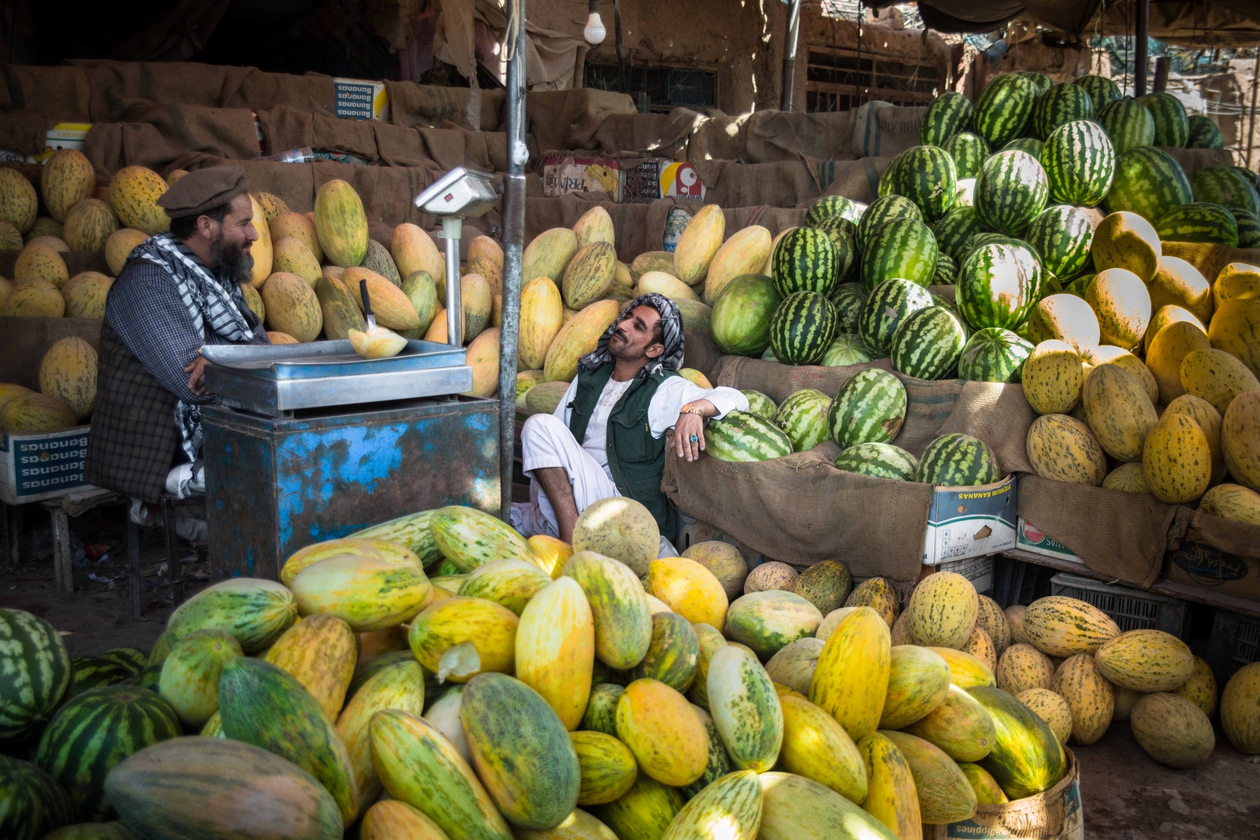 Daily life on a fruit market in Herat