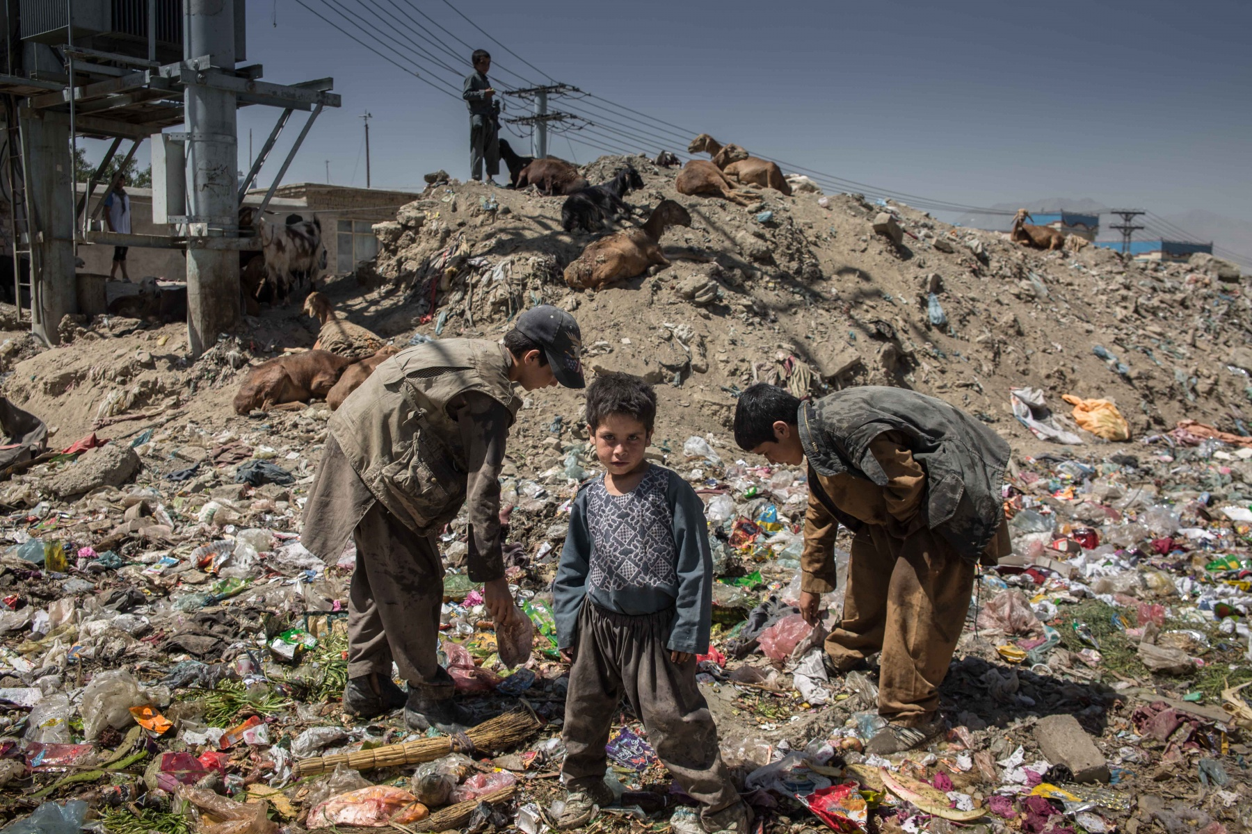 Afghan children who work as  garbage collectors look for recyclable material in Kabul. Children who work have very rarely access to education